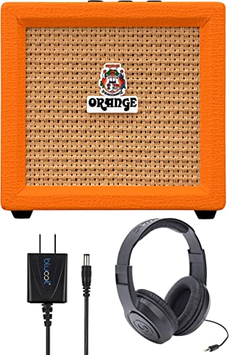 high quality Orange Amps Crush Mini 3W lowest Guitar Combo Amplifier (Orange) Bundle with Samson SR350 Over Ear online sale Stereo Headphones, and Blucoil Slim 9V Power Supply AC Adapter outlet sale