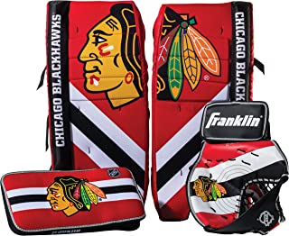 Franklin Sports Team Licensed Street Hockey Goalie Equipment Set - S/M Goalie Pads Catch Glove & Blocker - NHL Official Li...