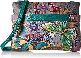 Anna by Anuschka Women's Genuine Leather Medium Crossbody Handbag | Zip-Top Organizer with Snap Side