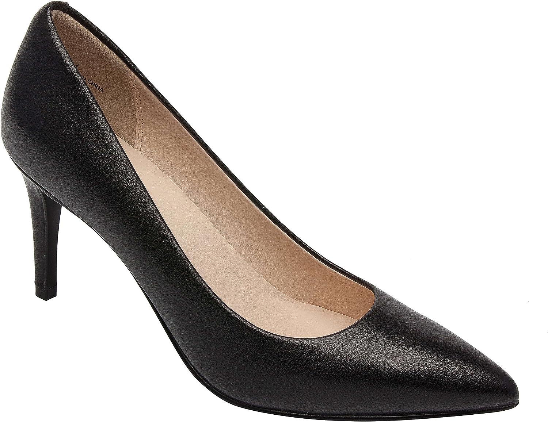Lilian   Women's Comfortable Pointy Toe High Heel Stiletto Pump Vegan or Leather Black Leather 8.5M