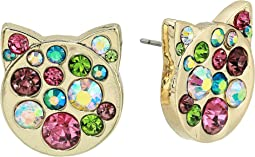 Multi-Stone Pave Cat Stud Earrings