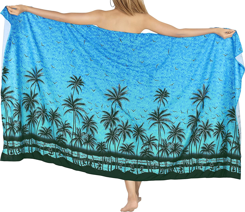 LA LEELA Women's Pareo Canga Sarong Skirt Swimwear Scarf Cover Up Full Long