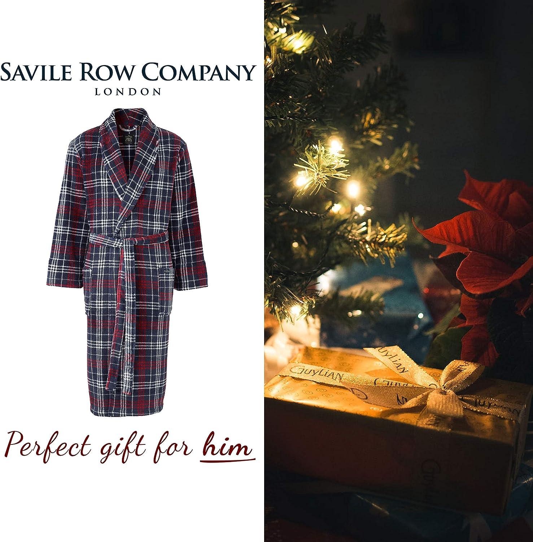 Savile Row Men/'s Super Soft Dressing Gown Fleece Lightweight Bath Robe Warm Cozy Sleepwear