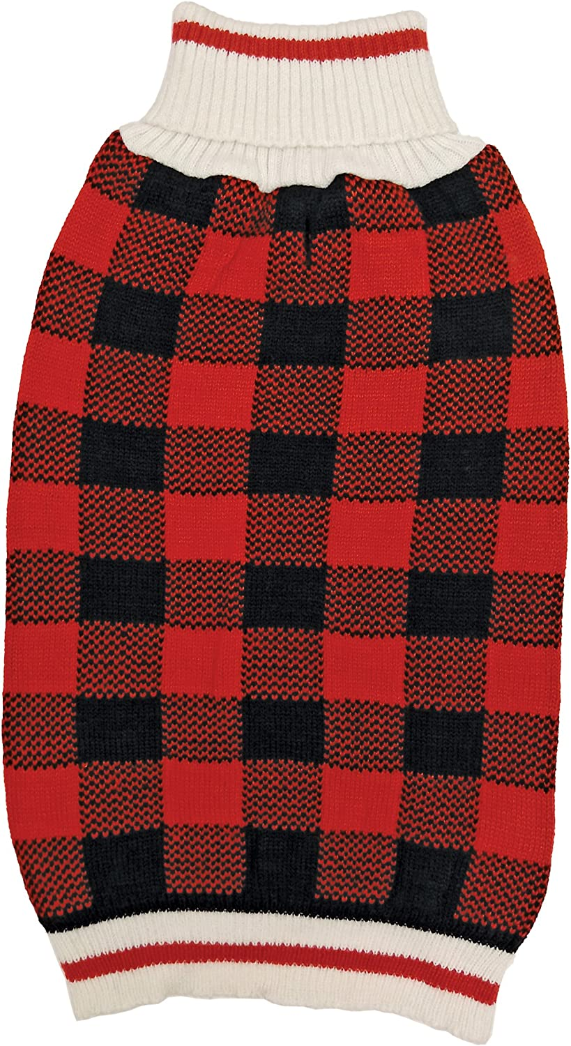 Fashion Pet 652626 Plaid Sweater, Large, Red
