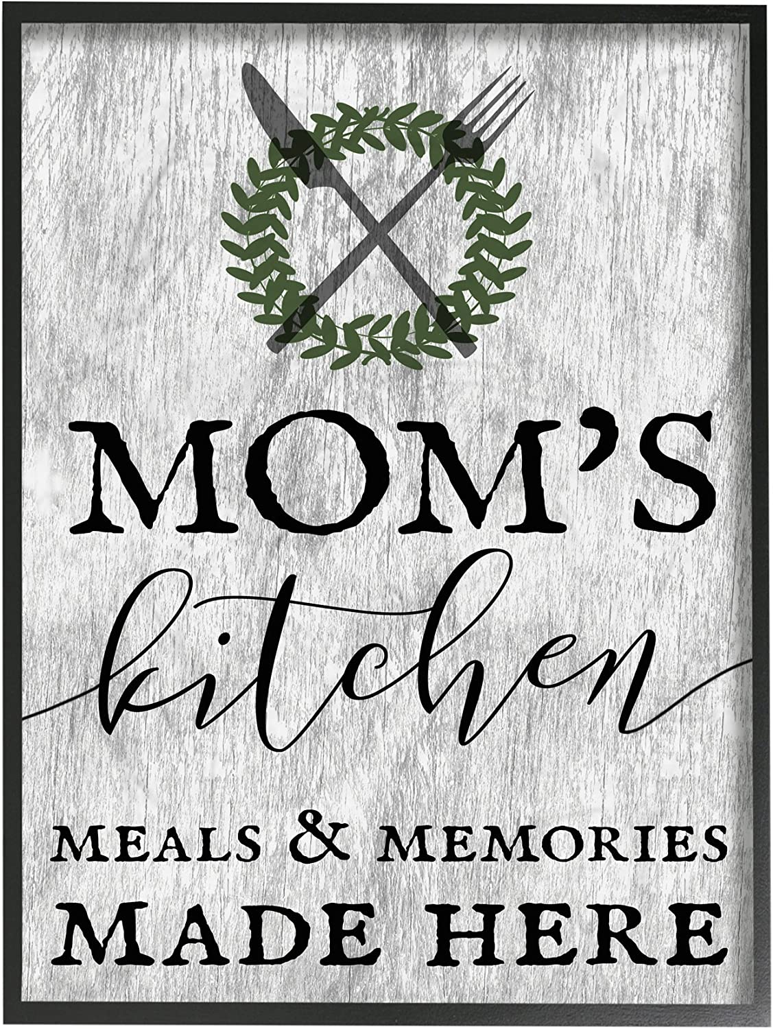 The Stupell Home Decor Collection Mom's Kitchen Meals and Memories Framed Giclee Texturized Art, 11 x 1.5 x 14, Proudly Made in USA
