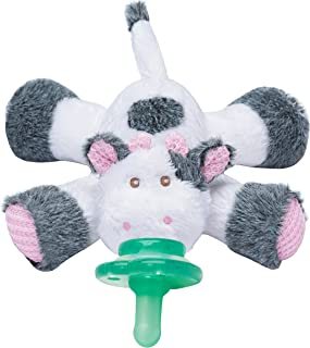 Nookums Paci-Plushies Buddies - Cow Pacifier Holder - Plush Toy Includes Detachable Pacifier, Use with Multiple Brand Name Pacifiers