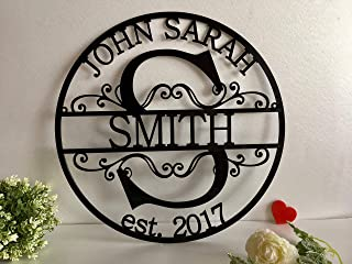 Personalized Family Last Name Sign Initial Split Letter Wreath Wedding Gift Custom First Names Est Year Established Sign Monogram Door Hanger Wall Decor Housewarming Gift for Couple Acrylic Wood Metal