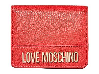 LOVE Moschino Love Logo Bifold Wallet (Red Natural Grain Calf) Handbags