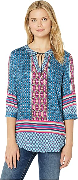 Printed Stretch Challis 3/4 Sleeve Blouse with Neckline Tie