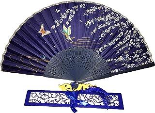 Titokiwi hochwertiger Handfächer Fächer für den Sommer Rosa, Türkis, Lila, Rot, Weiß und Schwarz Blau