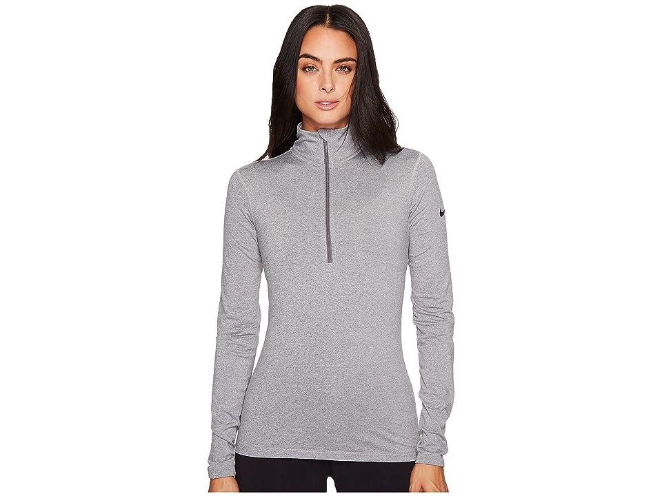 Nike Pro Long Sleeve Half Zip (Dark Grey Heather/Dark Grey/Black) Women