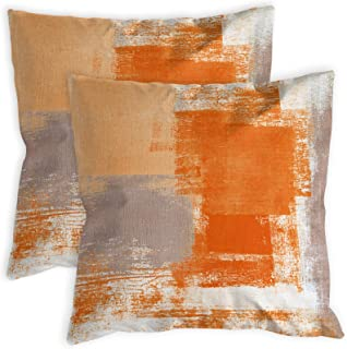 COLORPAPA 2 Pack Orange Throw Pillow Covers 18 x 18 inch Modern Abstract Artwork Burnt Orange Grey Decorative Throw Pillow...
