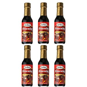 Grace Browning Gravy and Seasoning Sauce 4.8oz - Caribbean Caramelizing Sauce for Meat, Gravies and Stews (6 Bottles)