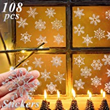 Pawliss Snowflake Window Glitter Christmas Decorations Ornaments 12 Sheets 108 Pieces