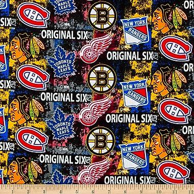 NHL Original Six Distressed Tossed Logo Allover Cotton, Multi Yard