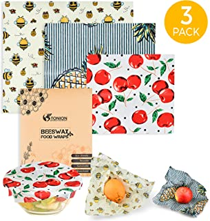 Tonion Beeswax Food Wrap - 3 Pack 100% Natural Beeswax Wrap – Antibacterial, Eco-Friendly, Washable, Reusable, Compostable, Biodegradable Food Covers – Ethically Made Zero Waste Food Storage Wrappers