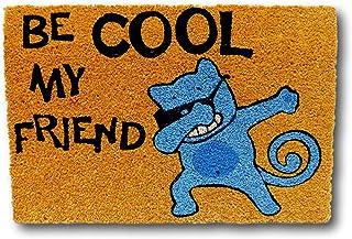 koko doormats felpudos Entrada casa Originales, Fibra de Coco y PVC, Felpudo Exterior Gato BE Cool MY Friend, 40x60x1.5 cm...