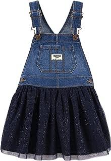 Osh Kosh Girls' Toddler World's Best Overalls, Medium Wash, 2T
