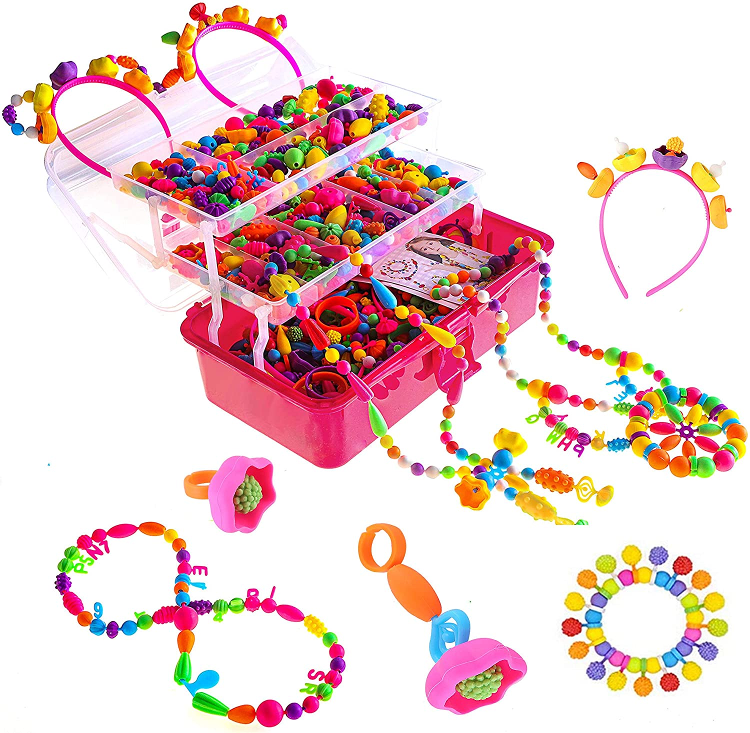 Toys for 3,4,5,6,7,8,9 Year old girls Pop Beads Jewelry making k
