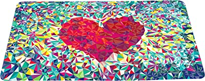 """Abstract Love Colorful Doormat Loving Heart Floor Mat with Non-Slip Backing Bath Mat Rug Excellent Home Decor 23.6""""W×15.7""""H"""