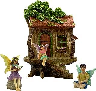 PRETMANNS Fairy Garden House Kit – Fairy Tree House with Accessories - 2 Girl Fairies and a Boy Fairy - Door can Open Wide - Fairy Garden Supplies 4 Pieces