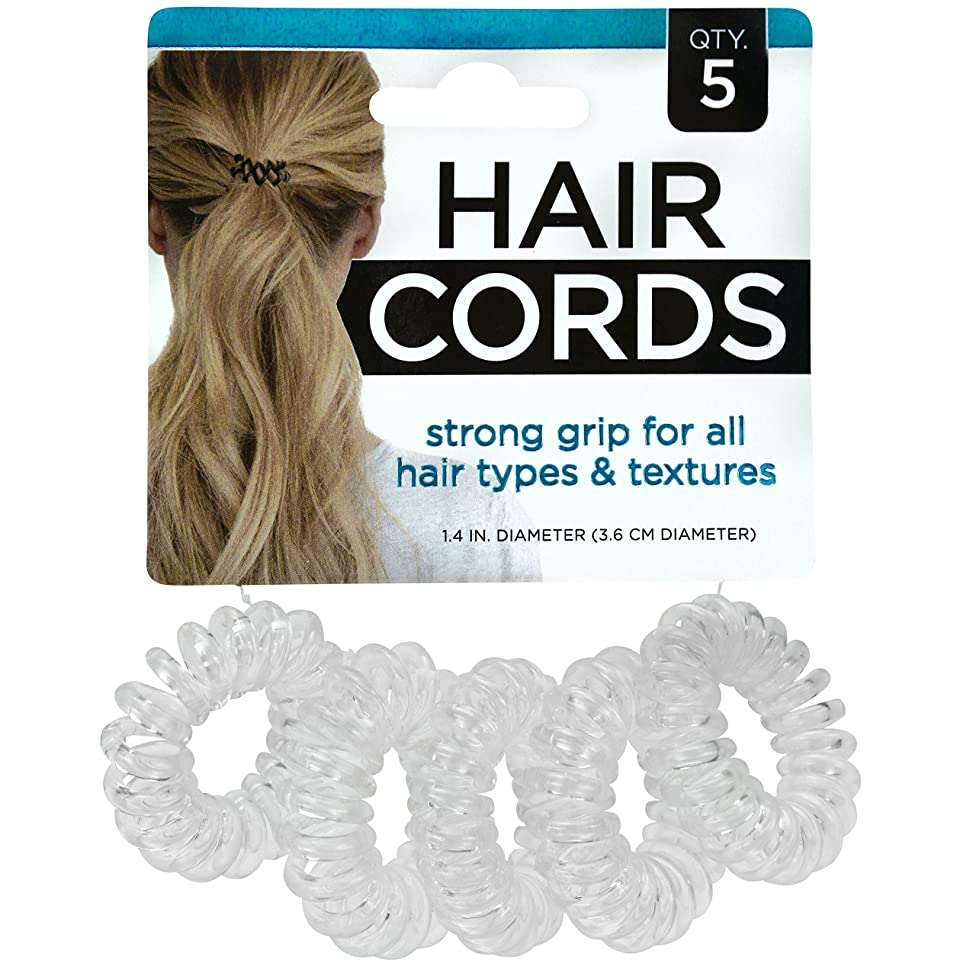 S & T 594001 Hair Cord Ties and Bracelet, Clear, 5 Pack