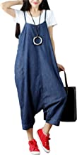 Yeokou Women's Loose Baggy Denim Wide Leg Drop Crotch Jumpsuit Rompers Overalls