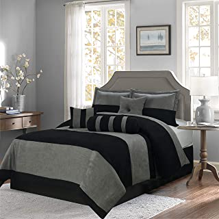 Empire Home Mikasa Collection Luxurious Micro Suede Soft Comforter Set - Limited-Time Sale!! (Black Stripe, Queen Size)