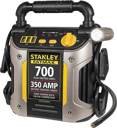 STANLEY FATMAX J7CS Power Station Jump Starter: 700 Peak/350 Instant Amps, 120 PSI Air Compressor, Battery Clamps