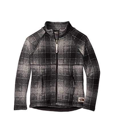 The North Face Kids Crescent Full Zip (Little Kids/Big Kids) (High-Rise Grey Ombre Plaid Small Print) Girl