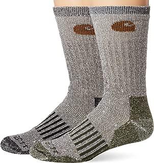 Carhartt Men's A118-4 Cold Weather Wool Blend Crew Socks (Pack of 4), Blue/black, Shoe Size: 6-12
