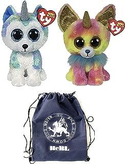 ReBL LLC TY Plush Stuffed Animal Toys Wanna B's Beanie Boos Medium Sized (9 inches) Chihuahua and Husky Unicorns with Drawstring Bag