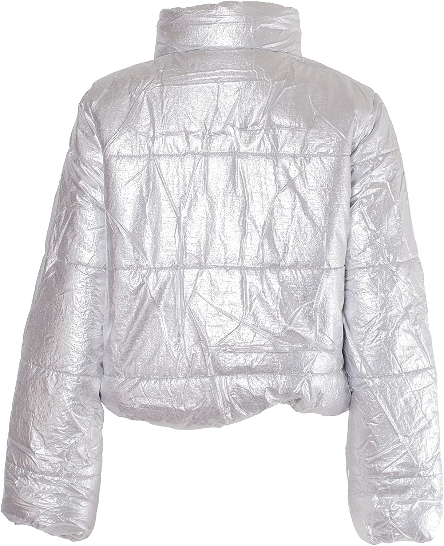 NOROZE Damen Crop Jacke Steppjacke Kurzes Puffer-Mantel Silber