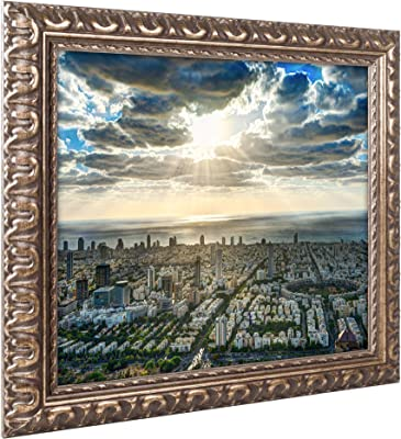 Tel Aviv Israel IV Artwork by David Ayash, 16 by 20-Inch, Gold