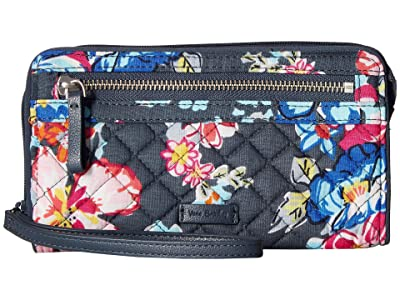 Vera Bradley Iconic RFID Front Zip Wristlet (Pretty Posies) Wristlet Handbags