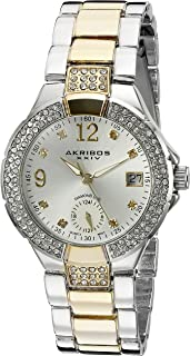 Akribos Xxiv Women's Ak775Ttg Swiss Quartz Movement Watch With Silver Dial and Diamond Hour Markers, Two Tone Band, Analog Display