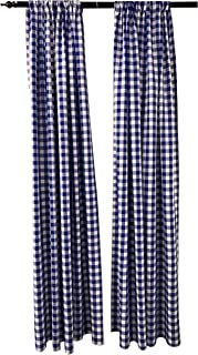 LA Linen Polyester Gingham Checkered Backdrop 58 by 96-Inch, Royal/White, 2 Peice