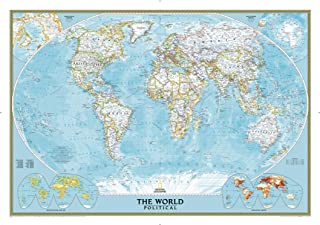 National Geographic World Classic Political Wall Map - 43.5 x 30.5 inches - Art Quality Print