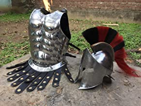 Nautical-Mart Medieval Warrior Muscle Armor with Spartan Helmet Halloween Costume