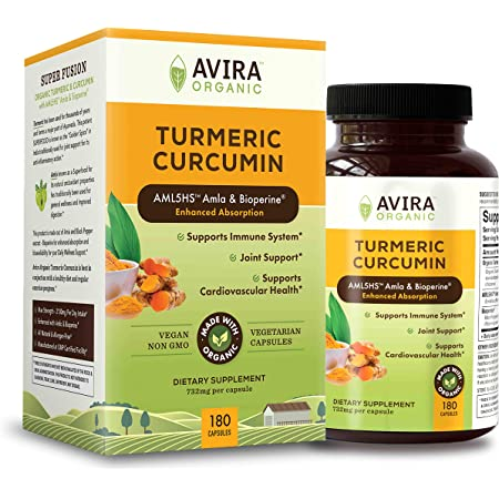 Avira Organic Turmeric Curcumin with Bioperine, Max strength – 2100mg Daily Serving, Non GMO, Made with Organic Turmeric Curcumin with Amla, 180 Capsules for Joint Support, yellow