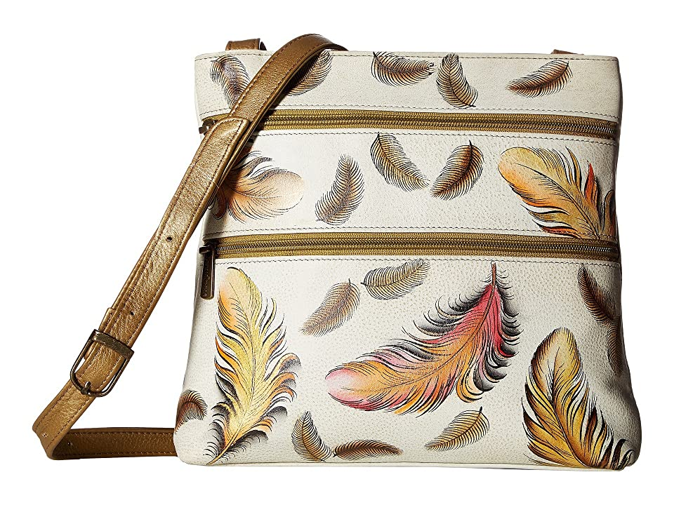 cf645f814e Anuschka Handbags 447 Compact Crossbody Travel Organizer (Floating Feathers  Ivory) Cross Body Handbags