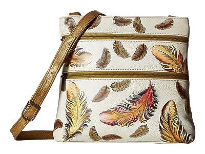 Anuschka Handbags 447 Compact Crossbody Travel Organizer (Floating Feathers Ivory) Cross Body Handbags