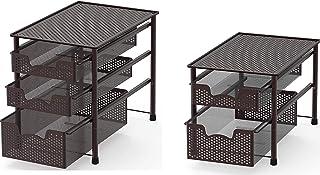 SimpleHouseware Stackable 2 Tier Sliding Basket + 3 Tier Sliding Basket Bronze