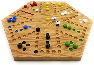 Solid Oak Double Sided Aggravation Marble Board Game Hand Painted 16 inch