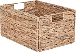 Sophia&William Foldable Handwoven Water Hyacinth Rectangular Storage Basket with Handles -12.2