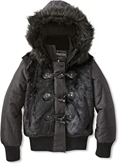Fleet Street Bomber-Length Girls Puffer Jacket with Faux Fur Body and Hood