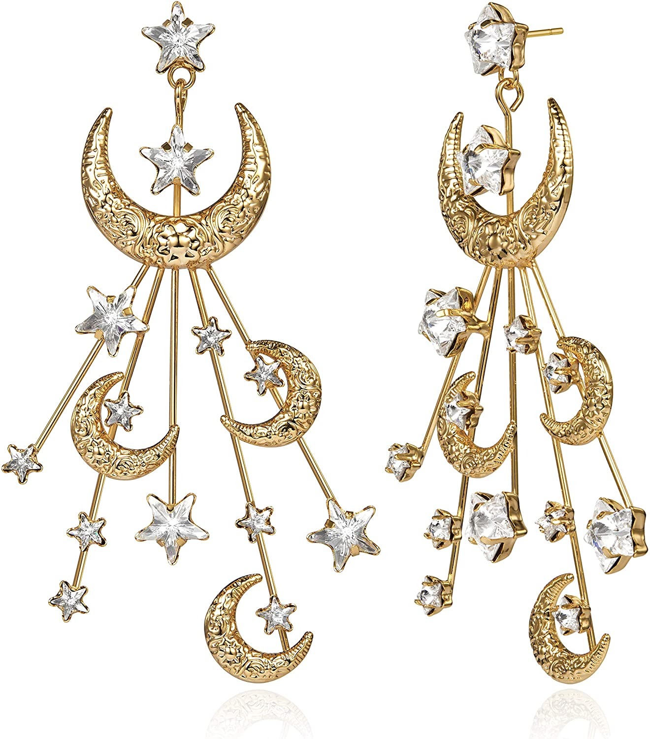 Star Moon Earrings Made Swarovski Crystal Gold Plated Crescent Moon Stars Drop Dangle Mother's Day Couples Gifts Mom Gold Moon Earrings for Women