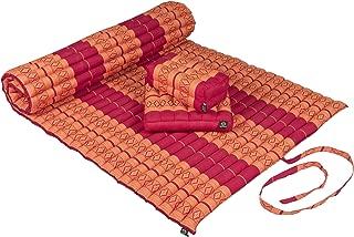 """Kapok Dreams Futon Set: Mat 39x78x2""""+ Block Cushion + seat Cushion. 100% Kapok (Natural & Sustainable Plant Fibre). Orange&Red Design"""