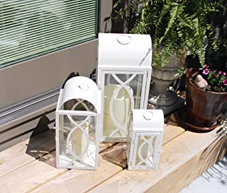 Pebble Lane Living Indoor/Outdoor Brayson Candle Lanterns, Powder Coated Frame & Tempered Glass Panes, White, Assorted Set of 3