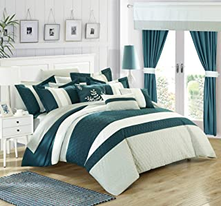 Chic Home Covington 24 Piece Comforter Set Embroidered Bed in a Bag with Sheets Curtains, Queen, Teal